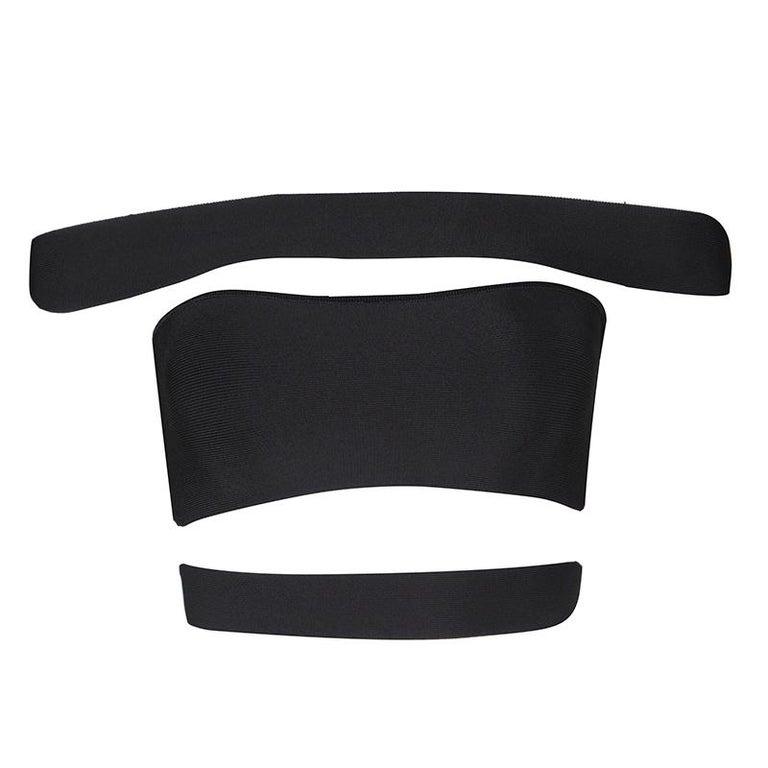 Balmain Black Knit Cutout Bandeau Top S In New Condition For Sale In Dubai, AE