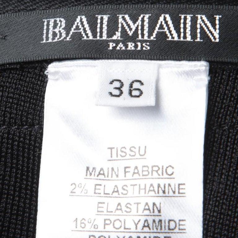 Balmain Black Knit Cutout Bandeau Top S For Sale 1