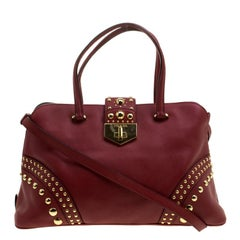 Prada Red Saffiano Cuir Leather Studded Tote