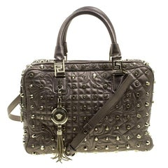 Versace Dark Beige Leather Vanitas Demetra Satchel