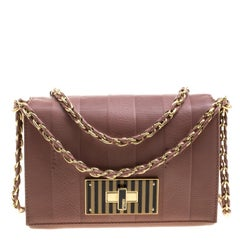 Fendi Pastel Beige Leather Claudia Shoulder Bag
