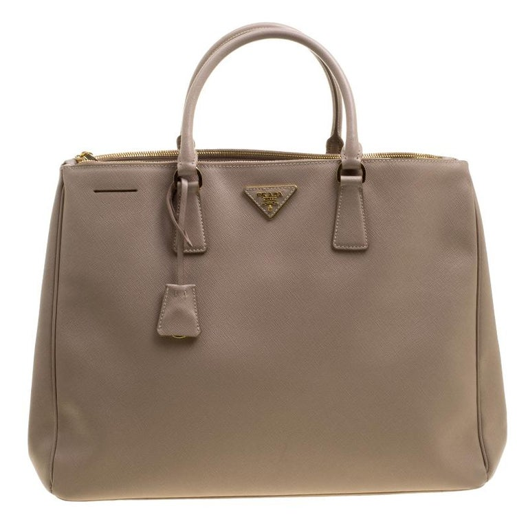f4cde15c8aed Prada Beige Saffiano Lux Leather Executive Double Zip Tote at 1stdibs