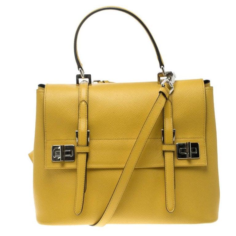 fb810da8c848 Prada Yellow Saffiano Cuir Leather Double Turn Lock Satchel at 1stdibs