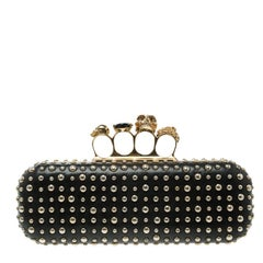 Alexander McQueen Black Leather Studded Skull Knuckle Box Clutch