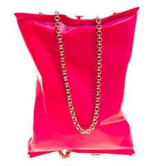 Anya Hindmarch Neon Pink Metallic Crisp Packet Clutch