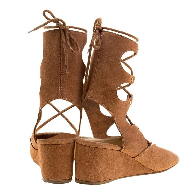 9ac12cb06c0 Chloe Brown Suede Gladiator Wedge Sandals Size 39 In Good Condition For  Sale In Dubai