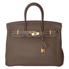 Hermes Etoupe Togo Leather Gold Hardware Birkin 35 Bag