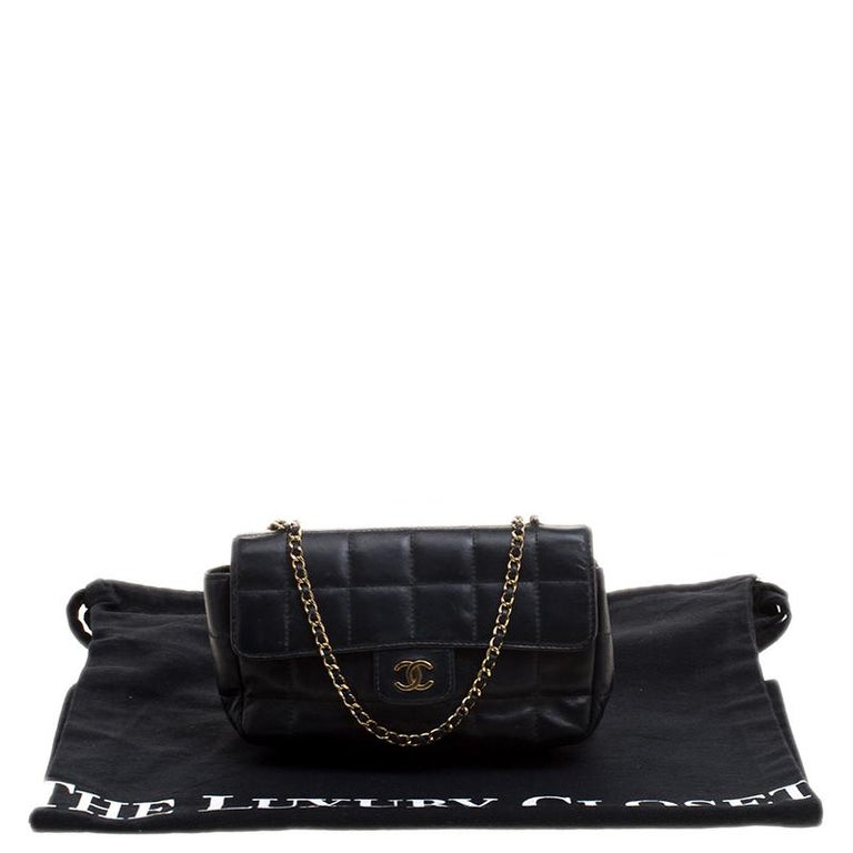 b25c36226749df Chanel Black Chocolate Bar Quilted Leather East West Flap Shoulder Bag For  Sale 2