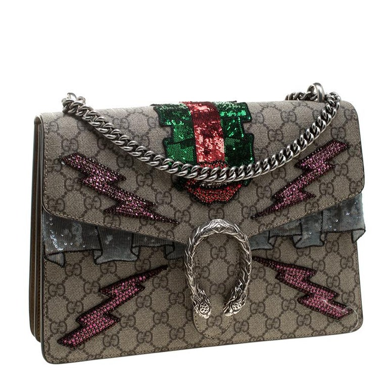 23fee866b2ac Gucci Beige GG Supreme Canvas Medium Dionysus Embroidered Shoulder Bag For  Sale 3