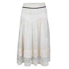 Chloe Cream Lace Insert Pleated Silk Midi Skirt S