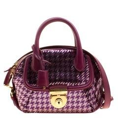 Salvatore Ferragamo Purple Sequin Embellished Mini Fiamma Satchel