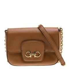 Salvatore Ferragamo Tan Saffiano Leather Paris Crossbody Bag