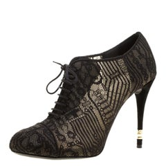 Chanel Black Lace Ankle Booties Size 39