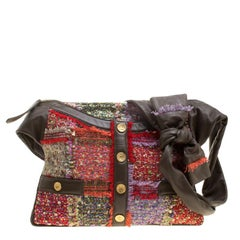 Chanel Khaki/Multicolor Tweed Fringe and Leather Small Girl Bag