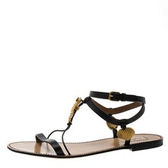 Valentino Black Leather Starfish and Seahorse Flat Sandals Size 40