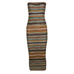 Missoni Multicolor Striped Rib Knit Bodycon Strapless Tube Dress M