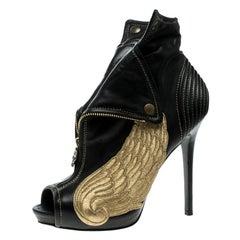 Alexander McQueen Black Leather Faithful Skull Peep Toe Ankle Boots Size 40