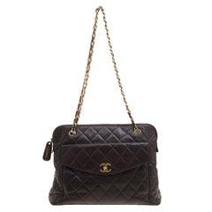 Chanel Brown Quilted Leather Vintage Front Pocket Shoulder Bag