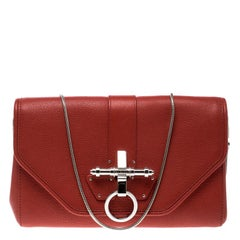 Givenchy Red Leather Obsedia Chain Clutch