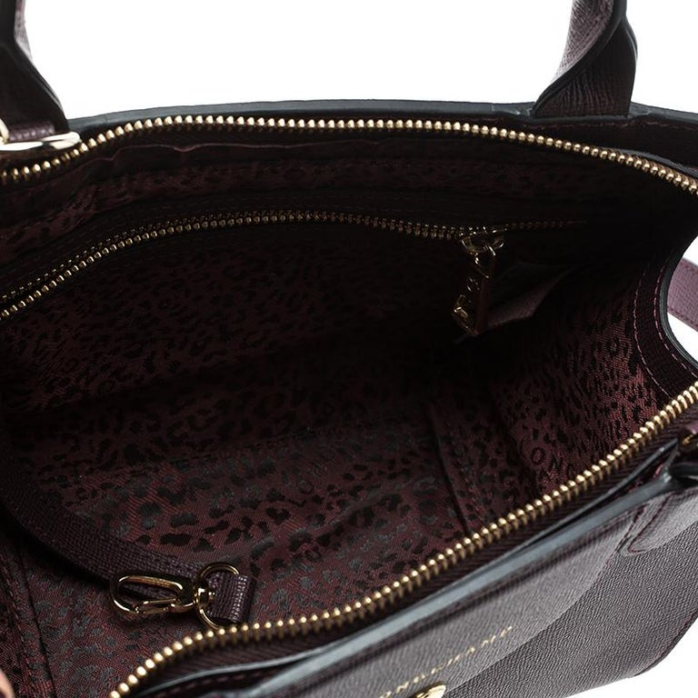 50dd1e9cab Longchamp Burgundy Leather Small Le Pliage Heritage Tote For Sale 4