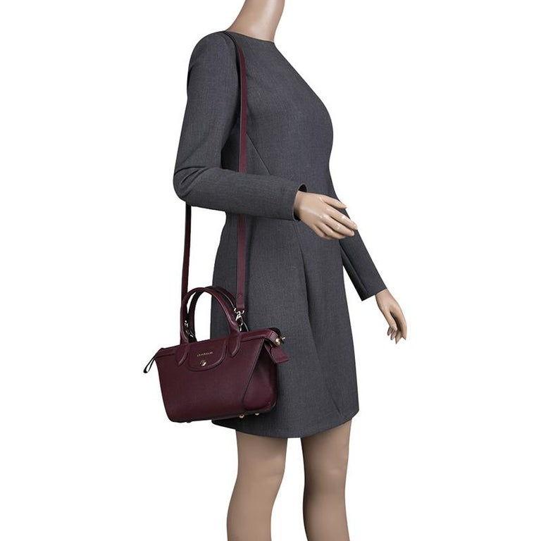 b0ebba5ff3 Black Longchamp Burgundy Leather Small Le Pliage Heritage Tote For Sale