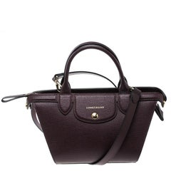 Longchamp Burgundy Leather Small Le Pliage Heritage Tote