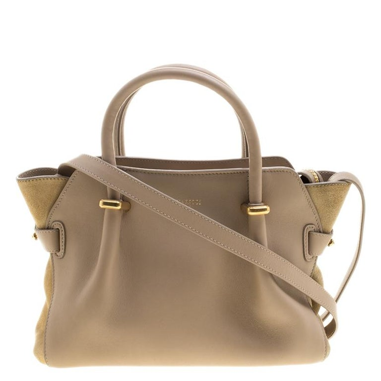 Nina Ricci Beige Leather And Suede Small Marche Tote For