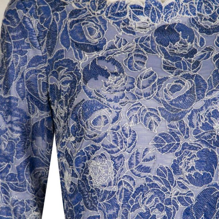 Tadashi Shoji Blau und Weiß Floral Bestickt Lange Ärmel Kleid S im ... c634a205e1