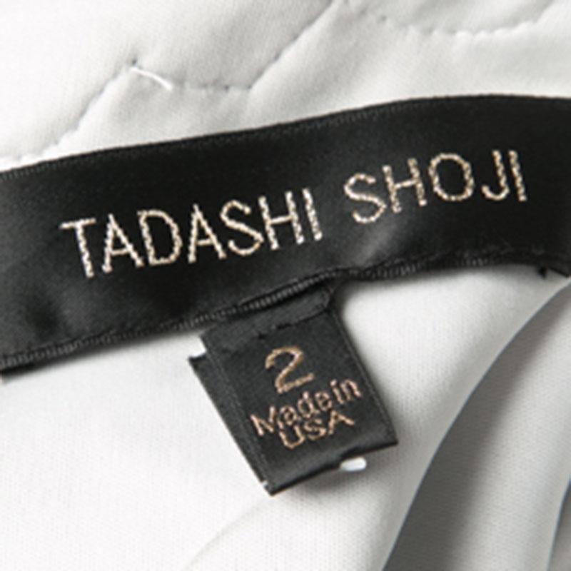 Tadashi Shoji Blau und Weiß Floral Bestickt Lange Ärmel Kleid S im Angebot  bei 1stdibs 64bbb78529
