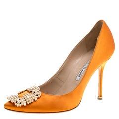 Manolo Blahnik Orange Satin Hangisi Embellished Pumps Size 38
