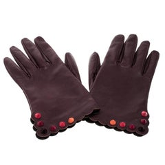 Fendi Burgundy Leather Studded Gloves Size M
