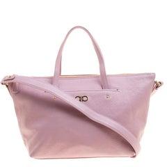 Salvatore Ferragamo Blush Pink Leather Small Mika Tote
