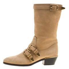 Chloe Beige Leather Susanna Buckle Detail Boots Size 38.5