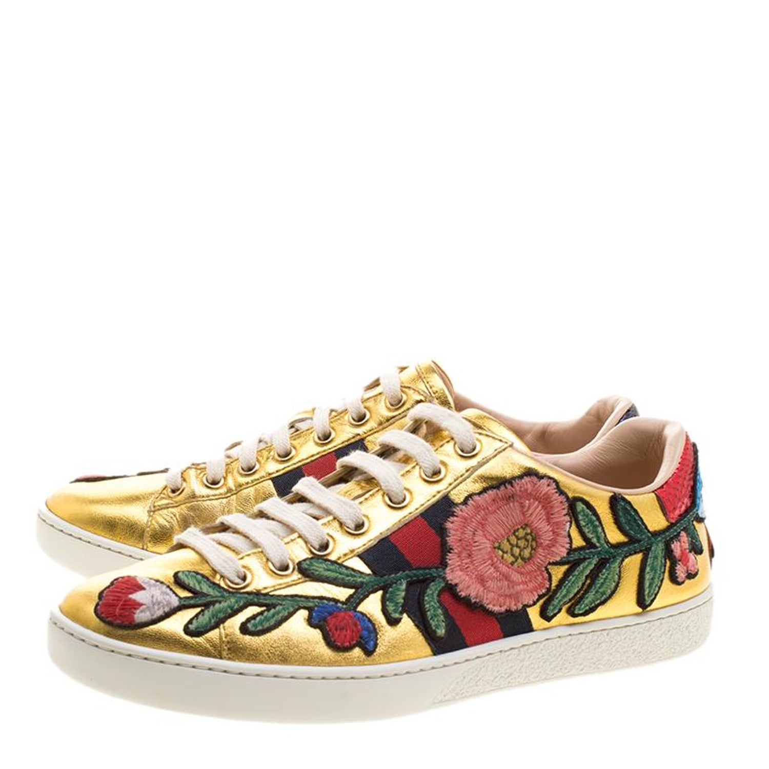 a9c394f09 Gucci Gold Leather Ace Embroidered Low Top Sneakers Size 36.5 at 1stdibs