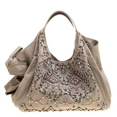 Valentino Beige Leather Pearl Embellished Hobo