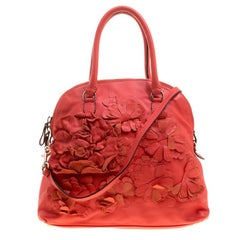 Valentino Red Leather Floral Applique Dome Satchel