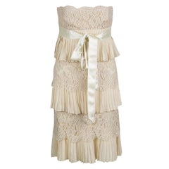 Valentino Beige Pleats and Lace Tiered Strapless Dress S