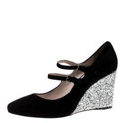 Miu Miu Black Suede Mary Jane Glitter Wedge Pumps Size 41
