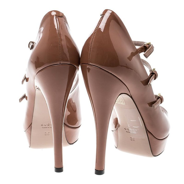 7bc2db07803 Gucci Brown Patent Leather Multi Strap Lisbeth Platform Pumps Size 36 In  Excellent Condition For Sale