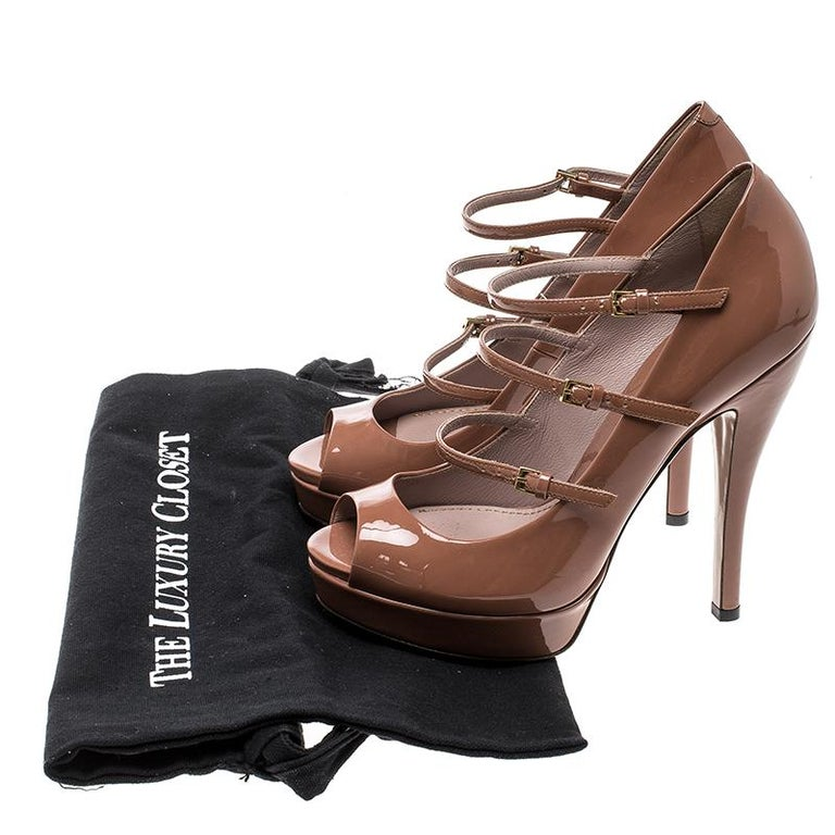 3b816caded0 Gucci Brown Patent Leather Multi Strap Lisbeth Platform Pumps Size 36 For  Sale 1
