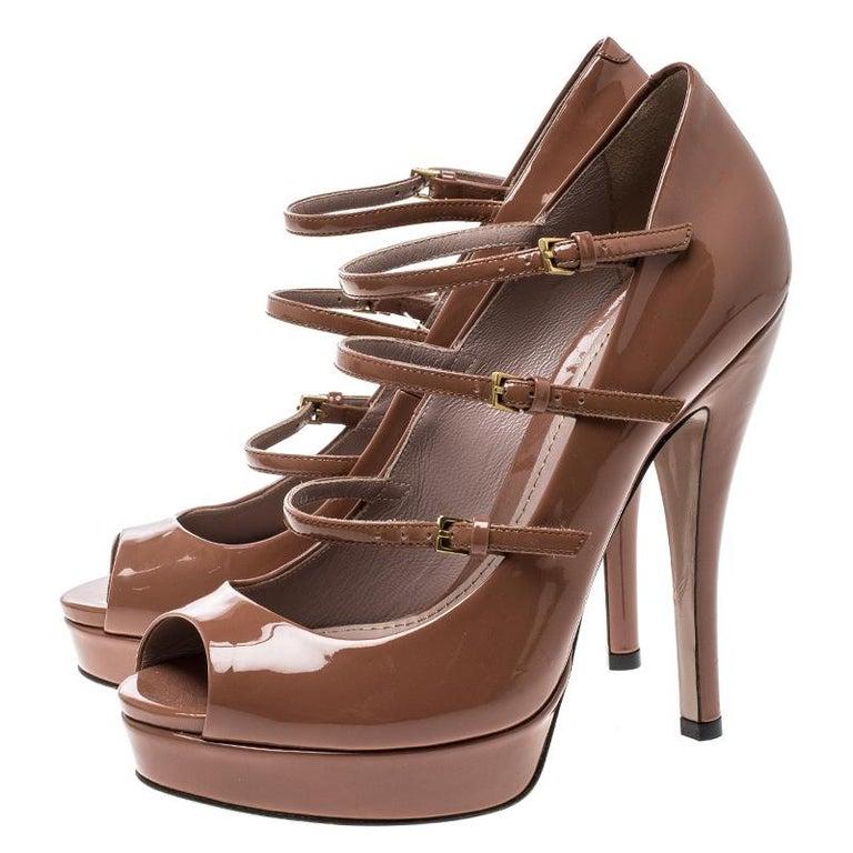 ca32247590f Gucci Brown Patent Leather Multi Strap Lisbeth Platform Pumps Size 36 For  Sale 2