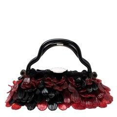 Bvlgari Black and Red Murano Glass and Fabric Evening Bag