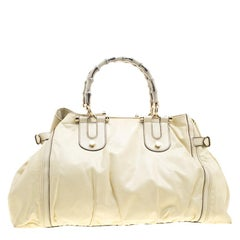 Gucci Cream Leather Large Pop Bamboo Handle Tote Bag