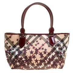 Burberry Dark Beige/Cognac Smoked Check PVC Small Northfield Tote