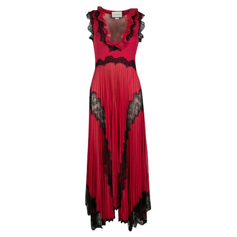 1028213b6f3 Gucci Red Lurex Knit Contrast Lace Ruffle and Pleat Detail Sleeveless Gown  S For Sale