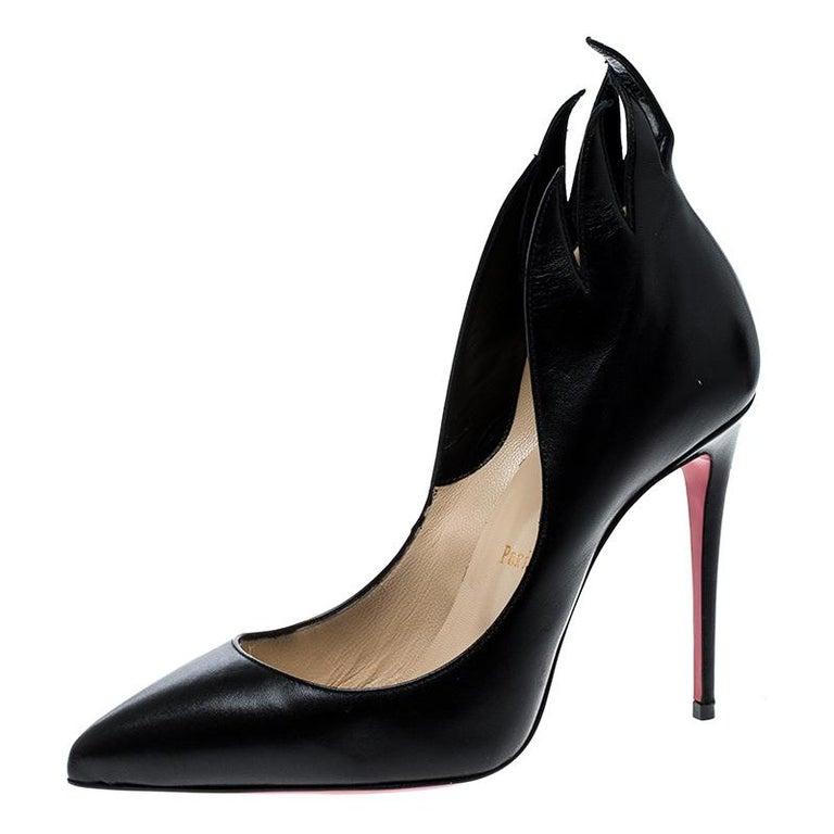7b62d792d26 Christian Louboutin Black Leather Victorina Flame Pumps Size 37