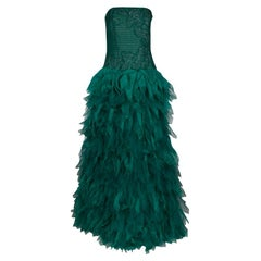 Tadashi Shoji Green Tulle Embroidered Faux Feather Strapless Gown L