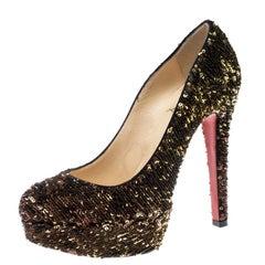 Christian Louboutin Gold Sequins Bianca Platform Pumps Size 36.5