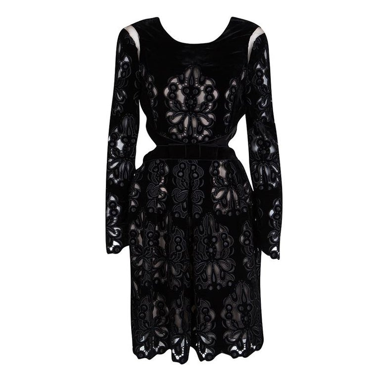 f67c672534b Erdem Black Laser Cutout Detail Embroidered Velvet Franzi Dress M For Sale