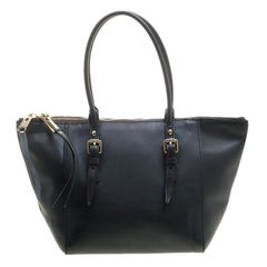 Burberry Black Leather Zip Tote